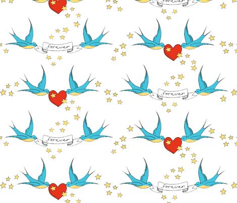 tattoo love fabric by leonielovesyou on Spoonflower - custom fabric