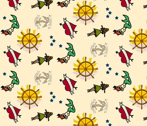 Sailor Tattoos fabric by nicholeann on Spoonflower - custom fabric