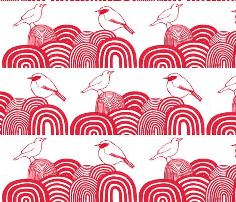 birds on hills fabric by leonielovesyou on Spoonflower - custom fabric