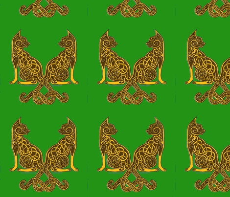 celt cats 6 gold on green fabric by ingridthecrafty on Spoonflower - custom fabric