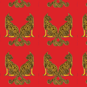 celt cats 6 gold on red