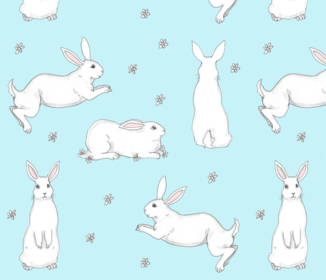 Bunnies on Blue fabric by bluedogrose on Spoonflower - custom fabric