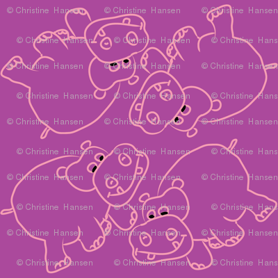 Pink Hippos Purple Background