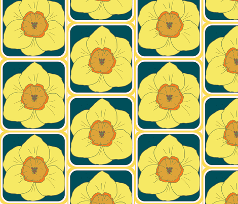 daffodil party blue fabric by katrina_whitsett on Spoonflower - custom fabric