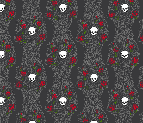 Where the Wild Roses Grow (Dark Grey) fabric by leighr on Spoonflower - custom fabric