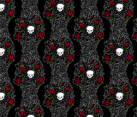 Where the Wild Roses Grow (Black) fabric by leighr on Spoonflower - custom fabric