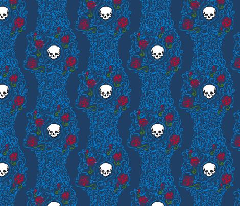 Where the Wild Roses Grow (Dark Blue) fabric by leighr on Spoonflower - custom fabric