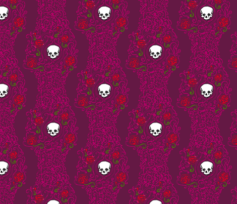 Where the Wild Roses Grow (Dark Pink) fabric by leighr on Spoonflower - custom fabric