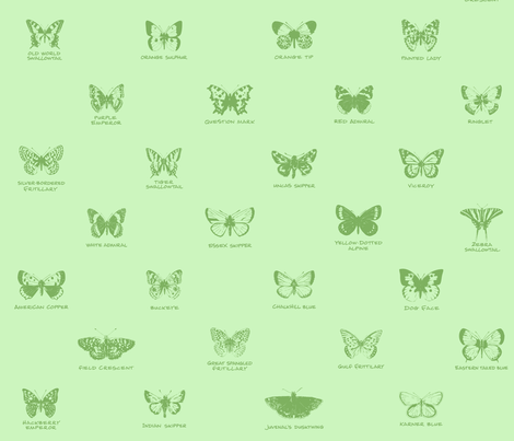 butterfly alphabet - apple green fabric by weavingmajor on Spoonflower - custom fabric
