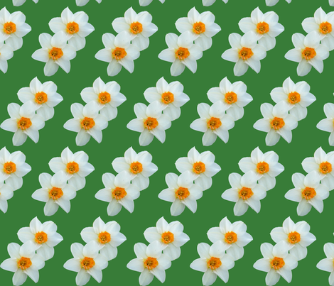 daffodils_with_green_background fabric by khowardquilts on Spoonflower - custom fabric