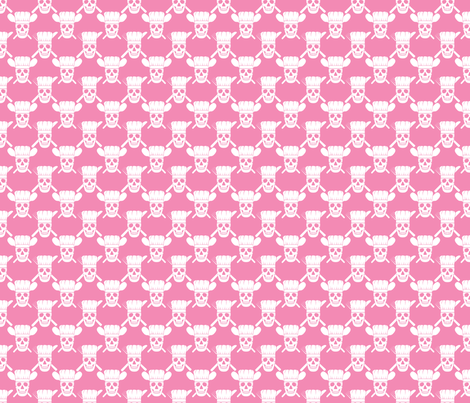 SKchefskull-pink fabric by shala on Spoonflower - custom fabric