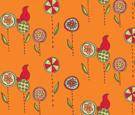 Redbird in a flower garden fabric by katrina_whitsett on Spoonflower - custom fabric
