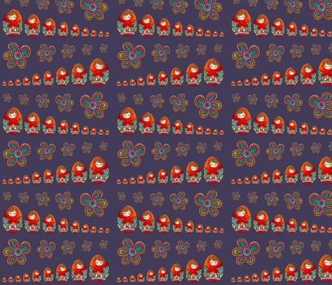Russian dolls stacked-shelving marine fabric by nadja_petremand on Spoonflower - custom fabric