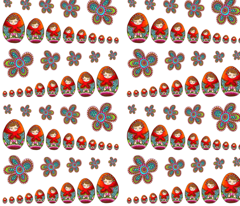 Stacked-shelving Russian doll on white bottom fabric by nadja_petremand on Spoonflower - custom fabric