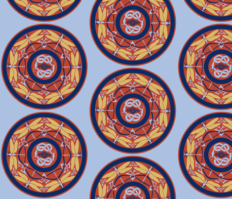 dragonfly circle fabric by ingridthecrafty on Spoonflower - custom fabric