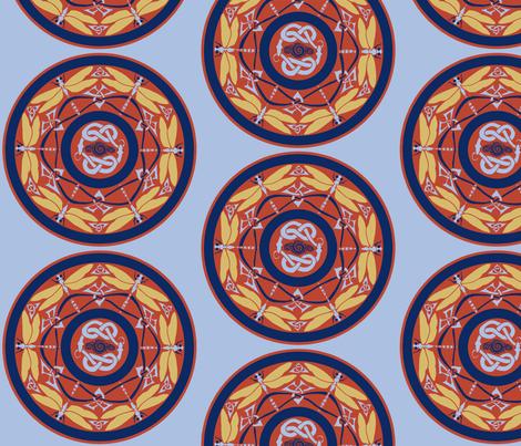 dragonfly circle fabric by ingridthecrafty on Spoonflower - custom fabric