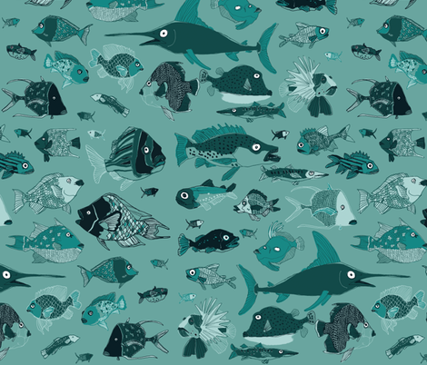 Something fishy! fabric by sheena_hisiro on Spoonflower - custom fabric