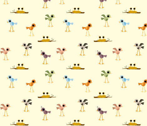 Sweet Tweet, White Background fabric by ttoz on Spoonflower - custom fabric