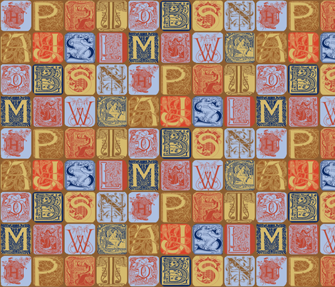 Art Nouveau Alphabet-1 fabric by lacefairy on Spoonflower - custom fabric