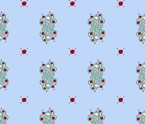 Where the Wild Roses Grow (Blue Medallion) fabric by leighr on Spoonflower - custom fabric