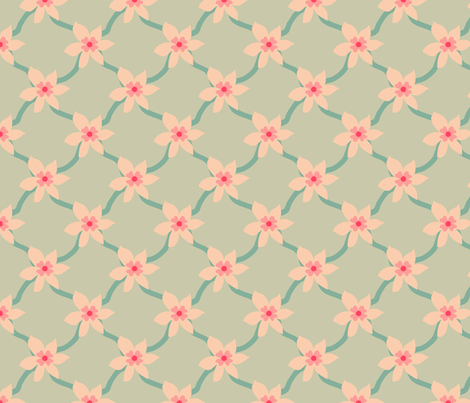 Pink Blossom Grid fabric by leeleeandthebee on Spoonflower - custom fabric