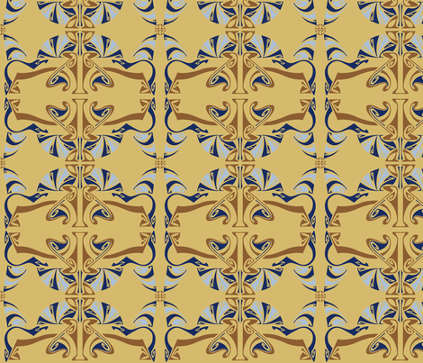 Clinton Hill Nouveau-Creme Brulee fabric by designertre on Spoonflower - custom fabric