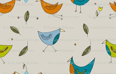 Fairytale Birds Bright Colourway