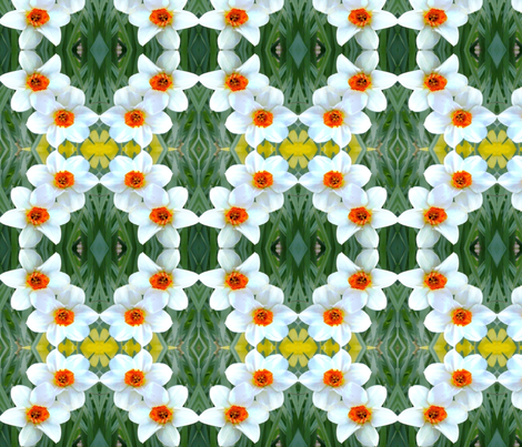 White and Orange Daffodil Beauties D-9 fabric by khowardquilts on Spoonflower - custom fabric