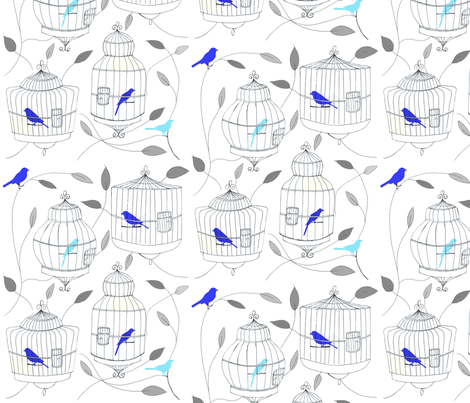 Blue Birds and Cages fabric by dorolimited on Spoonflower - custom fabric