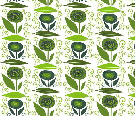 leaf_flower_swirl_G fabric by antoniamanda on Spoonflower - custom fabric