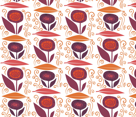 leaf_flower_swirl_R fabric by antoniamanda on Spoonflower - custom fabric