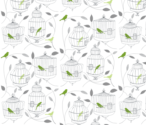 Green Birds and Cages fabric by dorolimited on Spoonflower - custom fabric