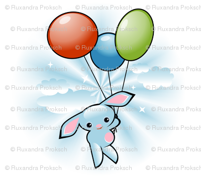 Cute Blue Bunny Flying With Balloons