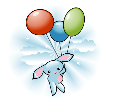 Cute Blue Bunny Flying With Balloons fabric by ruxique on Spoonflower - custom fabric