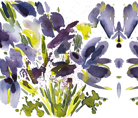 C'EST LA VIV Garden Lark Collection_SIBERIAN IRIS  fabric by @vivsfabulousmess on Spoonflower - custom fabric