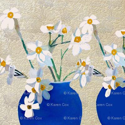 Daffodil in blue vase