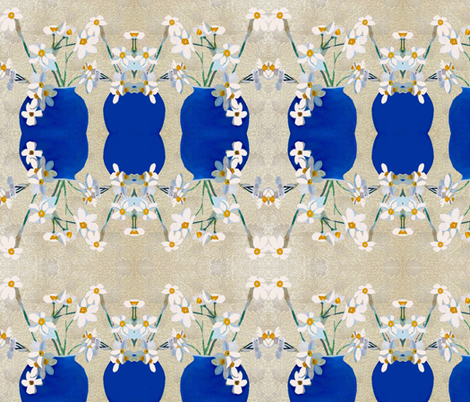 Daffodil in blue vase fabric by karenharveycox on Spoonflower - custom fabric