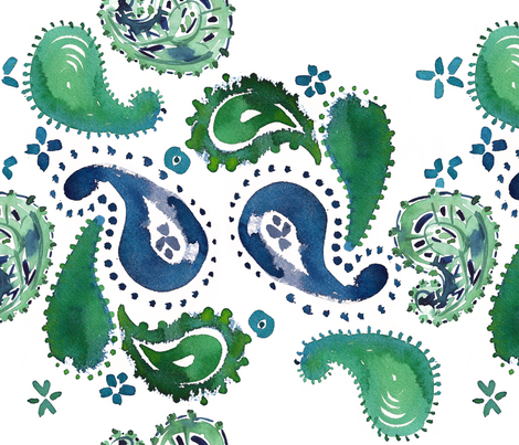 cestlaviv_ GREEN EYE LADY _PAISLEY CRAZY Collection_ fabric by cest_la_viv on Spoonflower - custom fabric
