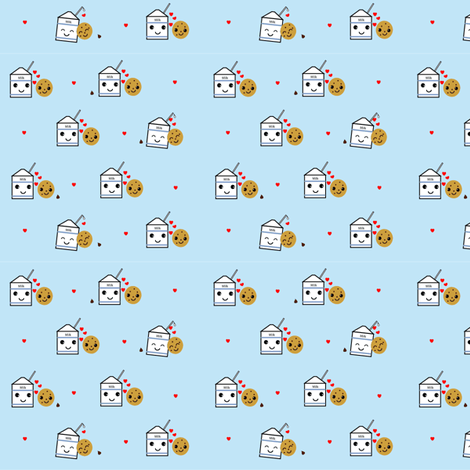 Milk and Cookies blue fabric by kiwicuties on Spoonflower - custom fabric