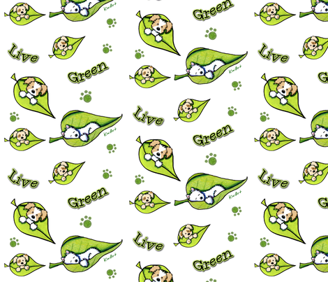 Live Green Puppies fabric by kiniart on Spoonflower - custom fabric
