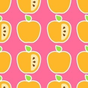 Yellow apples on Pink