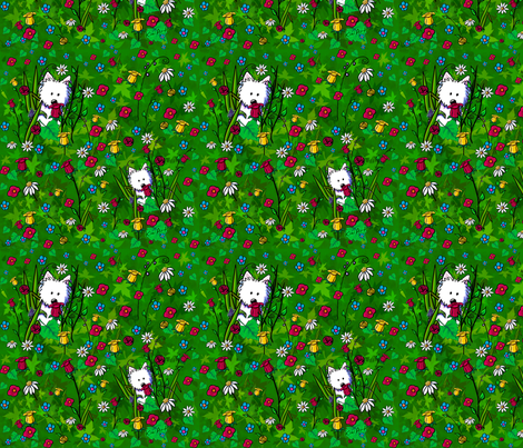Garden Westies fabric by kiniart on Spoonflower - custom fabric