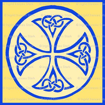 celtic cross tile blue and gold