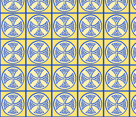 celtic cross tile blue and gold fabric by ingridthecrafty on Spoonflower - custom fabric