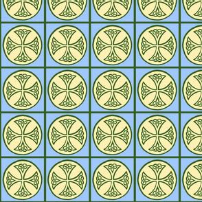 celtic cross tile green and blue