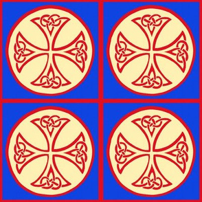 celtic cross tile in red and blue