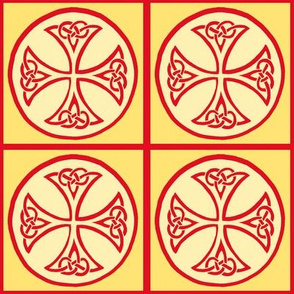 celtic cross tile red and gold