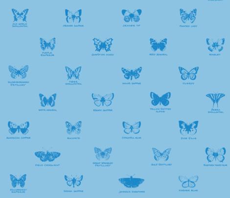 butterfly alphabet - light blue fabric by weavingmajor on Spoonflower - custom fabric