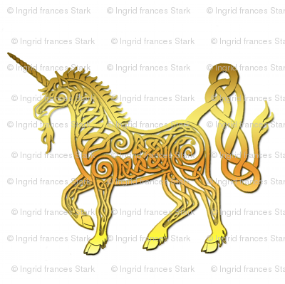 celtic unicorn 4 gloss gold