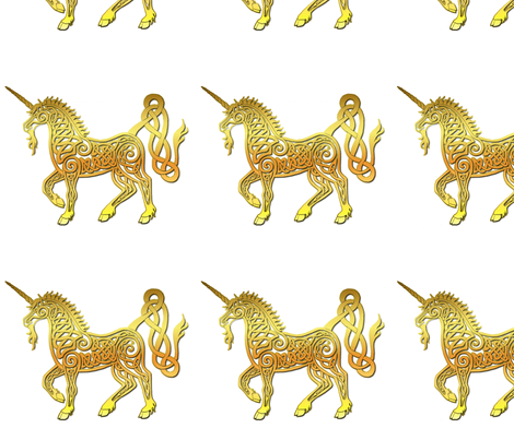 celtic unicorn 4 gloss gold fabric by ingridthecrafty on Spoonflower - custom fabric